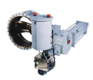 Трехэксцентричные поворотные технологические затворы с металлическим седлом, имеющие быстродействующий гидравлический привод для отсечного клапана турбины и модулирующий гидравлический привод для дроссельного клапана турбины.