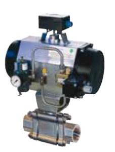 Трехэлементный шаровой кран из нержавеющей с тали с пневматическим приводным механизмом, позиционером и концевыми выключателями.